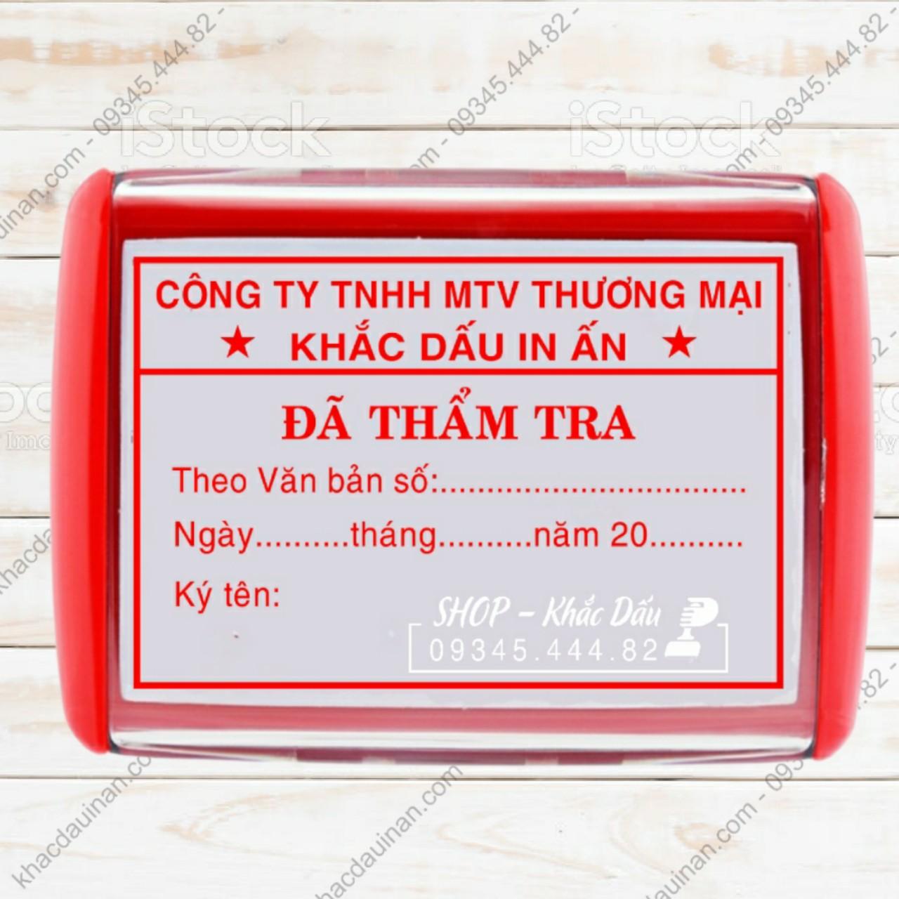 khắc con dấu đã thẩm tra giá rẻ lấy liền giao hàng tận nơi tại tphcm, hà nội